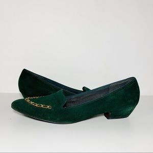 Vintage Green Suede Gold Chain Pointed Toe Slip On
